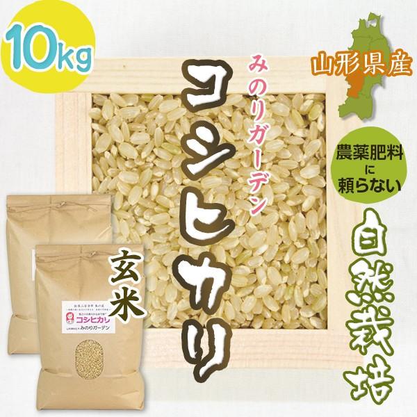 玄米10kg コシヒカリ「みのりガーデン」山形県 自然栽培 お米 宅配 無肥料 令和二年度産 新米 入荷次第発送