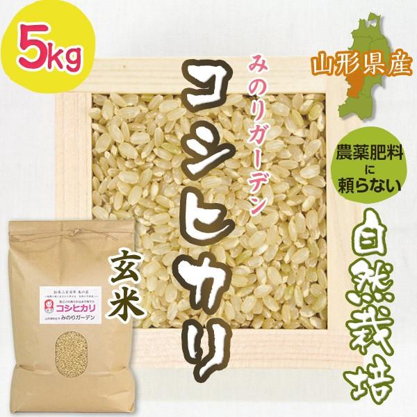 玄米5kg コシヒカリ「みのりガーデン」山形県 自然栽培 お米 宅配 無肥料 令和元年度産