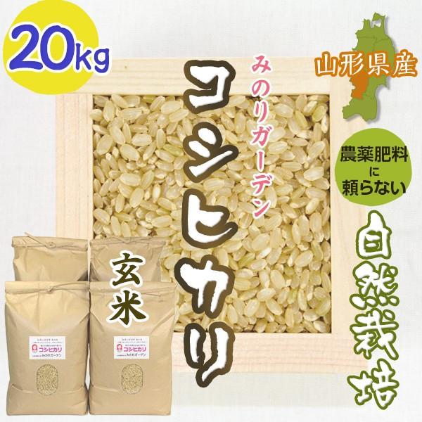 玄米20kg コシヒカリ「みのりガーデン」山形県 自然栽培 お米 宅配 無肥料 令和元年度産