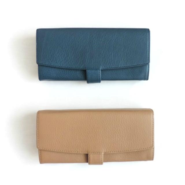 ベルト付き長財布(ブルー/トープ)