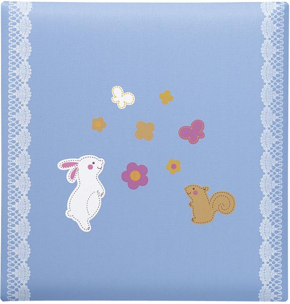 出産祝いに 名入れベビーアルバム★クリエート ベビーフォトアルバム [ウサギとリス・ブルー](175-045) 