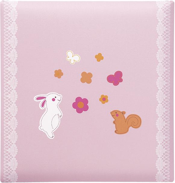 出産祝いに 名入れベビーアルバム★クリエート ベビーフォトアルバム [ウサギとリス・ピンク](176-045)|