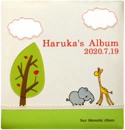 出産祝いに 名入れベビーアルバム★ファーストギフトオリジナル [ゾウとキリンのアルバム](202-001)|