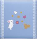 出産祝いに 名入れベビーアルバム★クリエート ベビーフォトアルバム [ウサギとリス・ブルー](175-045)|
