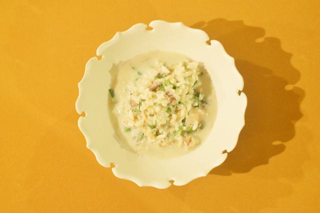 白身魚とナスのクリームリゾット