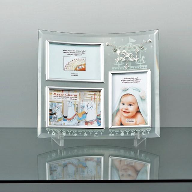 《メリーチャーム ガラスフォトフレーム 3窓》 3枚 ガラス ベビーフォトフレーム 誕生日 プレゼント