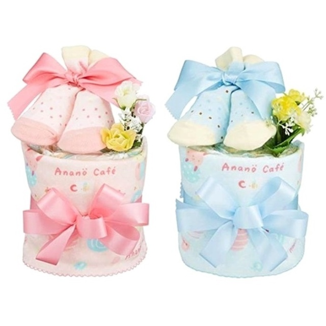 出産祝い プチおむつケーキ アナノカフェ 選べる2色(ピンク・ブルー)ギフトセット タオル かわいい
