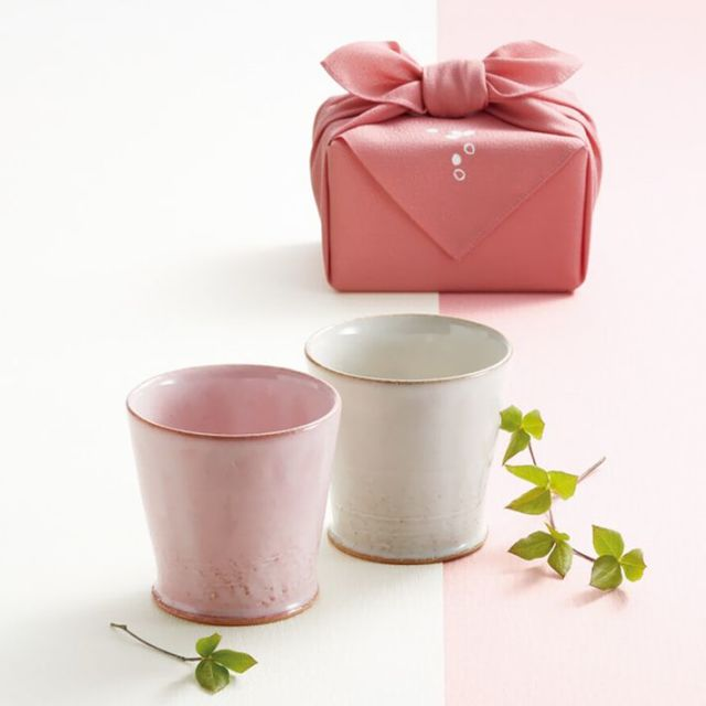 『 きらら坂全シリーズ取扱い中 萩焼 - うす桜 -  マルチカップペア 』