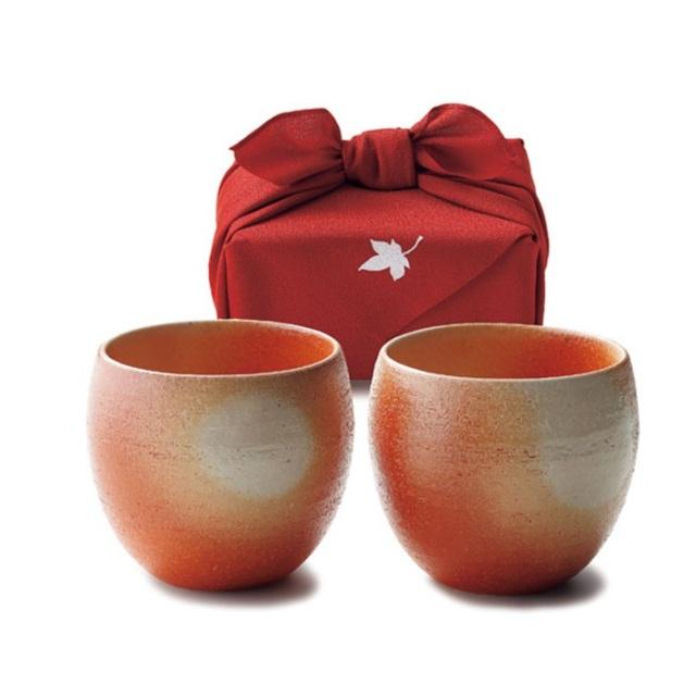 きらら坂全シリーズ取扱い中 信楽焼 ‐緋色 マルチ碗ペア