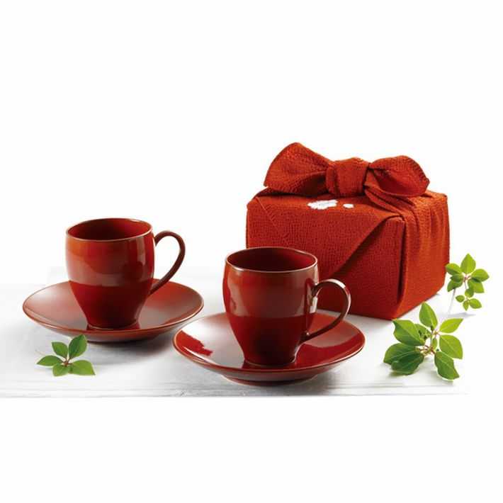 『 きらら坂 全シリーズ取扱い中 清水焼  - 柿釉(かきゆう) ペアコーヒー |送料無料  』