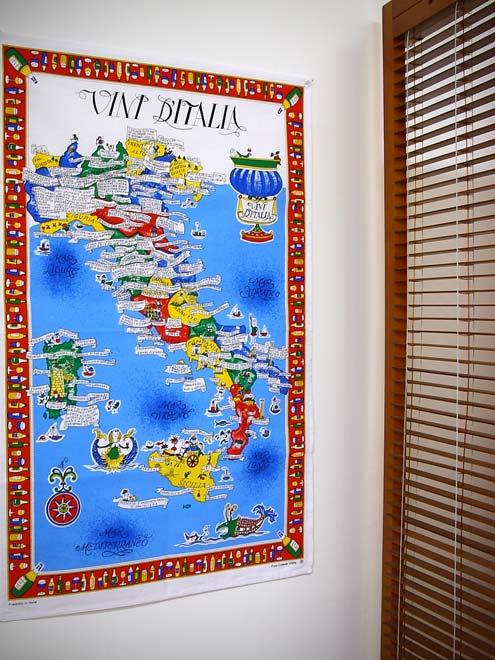 イタリア・Conti社タペストリーイタリアマップ: ワイン