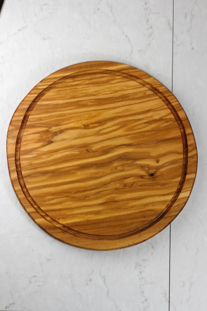 円形カッティングボード (溝付き) アルテレニョ社 イタリア製 (Italian olive fluted round board made by Arte Legno) 商品