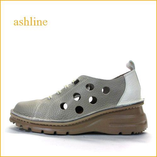 ashline アシュライン as0128gy  グレイアイボリー 【スポッ..と履けるゴムゴムレース・・可愛いコンビカラ―・fizzreen・軽い穴穴マニッシュ】