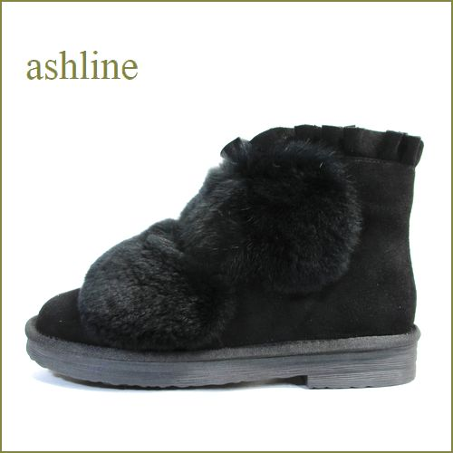 アシュライン ashline as177611bl ブラック 【もこもこラビットファーと・・可愛いフリルのデザイン。。ashline・暖かいアンクルブーツ】