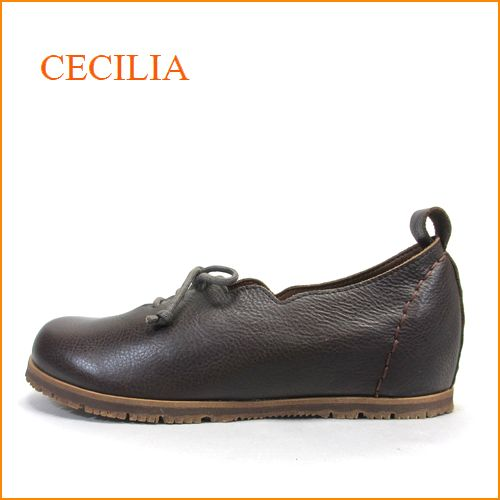 cecilia セシリア ce05dn ダークブラウン 【可愛いフラワーカット・・・楽らくワイズ 巾広4E・・cecilia ひもひもスリッポン】