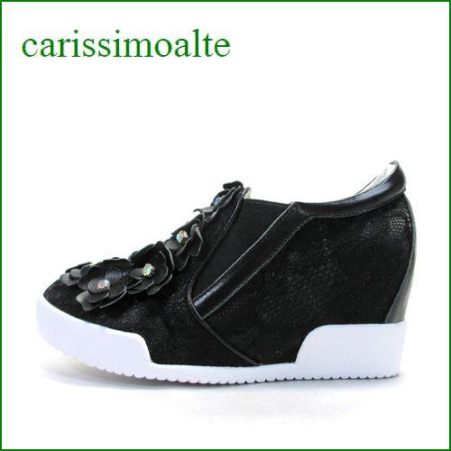 Carissimo alte   カリシモアルテ cs10813bl  ブラック 【可愛さ満開*お花とレース** carissimo alte  履きやすいスリッポン】