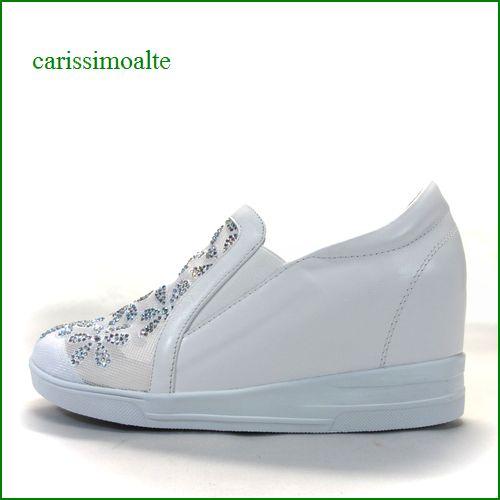 carissimoalte  カリシモアルテ cs16991wt  ホワイト 【可愛さ満点・・ラインストーン&お花レース・ carissimoalte インヒール・スリッポン】