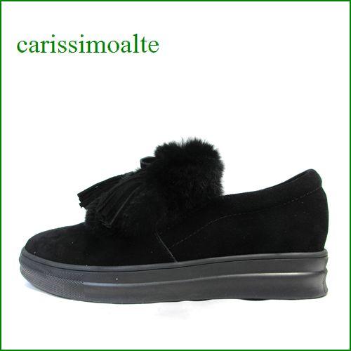 carissimoalte  カリシモアルテ cs17182bl  ブラック 【可愛さ満点・・大きめタッセルりぼん carissimoalte ふわふわファーのスリッポン】