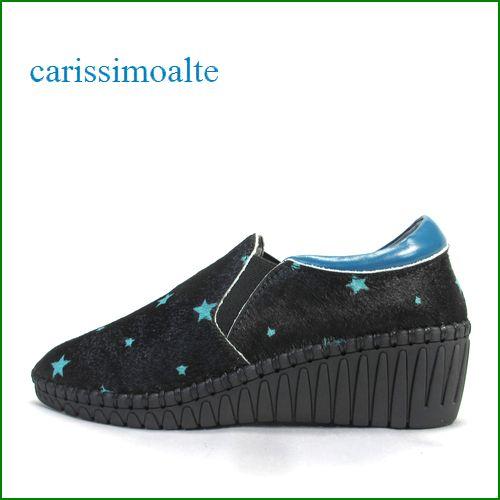 carissimoalte  カリシモアルテ cs17276Abu  ブラックブルー 【おしゃれな馬毛素材・・きらきらスター carissimoalte サイドゴア・スリッポン】