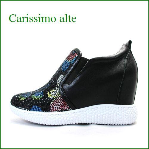 carissimoalte  カリシモアルテ cs6036Abl  ブラック 【可愛さ満点・・お花のラインストーン・ carissimoalte インヒール・スリッポン】