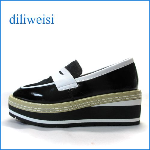 diliweisi di627bl ブラック 【かわいいボリューム・・人気のエナメル素材・。。diliweisi 厚底ローファー】