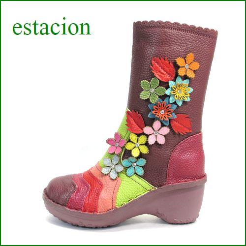 エスタシオン靴  estacion  et016wi ワインマルチ 【初登場の長さ!!お花咲いてる 新鮮色達。。。エスタシオン・・かわいいハーフブーツ】