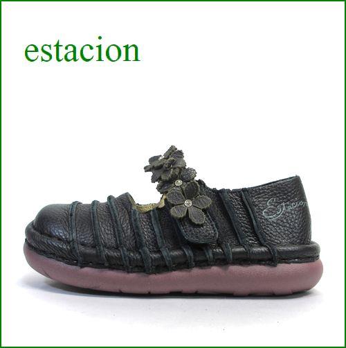 エスタシオン靴 estacion  et0381bl  ブラック 【お花畑を散歩。。エスタシオン靴・・・・カラフル・・可愛い!花花・ ワンベルト】