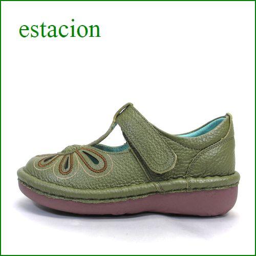 エスタシオン靴 estacion  et06ka  カーキ 【おすすめしちゃう新型ソール・・・お花畑を散歩。。エスタシオン靴・・・・可愛い!花花・ Tストラップ】