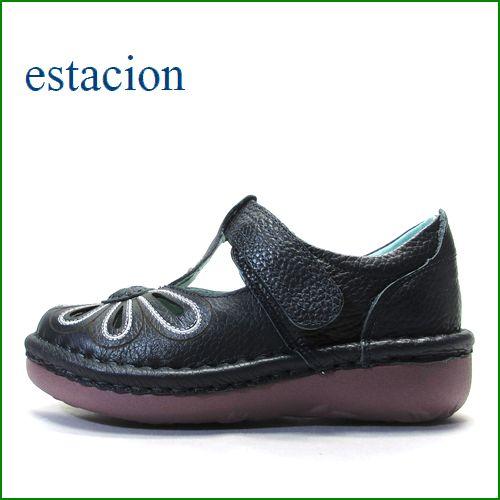 エスタシオン靴 estacion  et06nv  ネイビー 【おすすめしちゃう新型ソール・・・お花畑を散歩。。エスタシオン靴・・・・可愛い!花花・ Tストラップ】