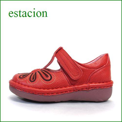 エスタシオン靴 estacion  et06re  レッド 【おすすめしちゃう新型ソール・・・お花畑を散歩。。エスタシオン靴・・・・可愛い!花花・ Tストラップ】