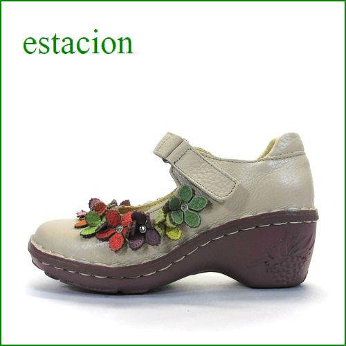 エスタシオン靴  estacion  et0721ok OKベージュ 【ワクワク元気。。エスタシオン靴・・・・カラフル・・可愛い!お花畑の ワンベルト】