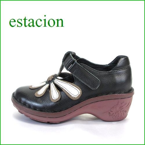 エスタシオン靴 estacion et072bla ブラック 【ワクワク元気。。エスタシオン靴・・・・カラフル・・可愛い!花花 ヒールアップ】