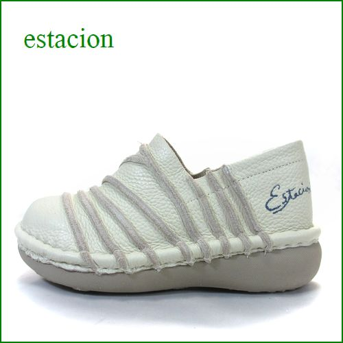 エスタシオン靴  estacion  et105iv アイボリー 【フワフワで歩こう! カワイイ斜めのしましま~エスタシオン靴・ スリッポン】