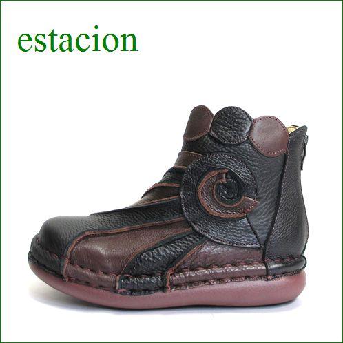 エスタシオン靴  estacion  et114bl ブラック 【色の宝石箱・・・エスタシオン靴 すごく可愛い ぐるぐるアンクル】