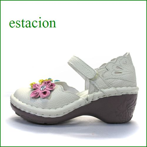 エスタシオン靴  estacion  et140iv アイボリー 【ポイントはカカト!可愛いフラワーカット。。エスタシオン靴・・お花の ワンベルト】