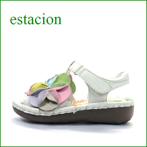 エスタシオン靴  estacion  et18iv アイボリー 【ボリューム満点。カラフル ボンボンフラワー。。エスタシオン靴・・新型ソール・サンダル】