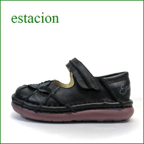 エスタシオン靴 estacion  et202bl  ブラック 【ワクワク元気。。エスタシオン靴・・・・カラフル・・可愛い!花花・万華鏡・ ワンベルト】