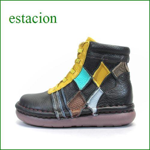 エスタシオン靴  estacion  et218bl ブラック 【フワッと感じるオザブ・クッション! エスタシオン・・スポッ と履ける。。ひもひもアンクル】