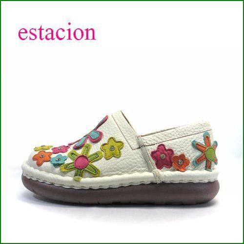 エスタシオン靴 estacion  et220iv  アイボリー 【お花畑を散歩。。エスタシオン靴・・・・カラフル・・可愛い!花花・ スリッポン】