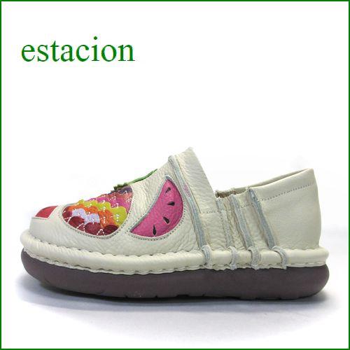 エスタシオン靴 estacion  et231229iv  アイボリー 【フルーツいっぱい・・リンゴ。パイナップル ◇・◇ エスタシオン靴・スリッポン】