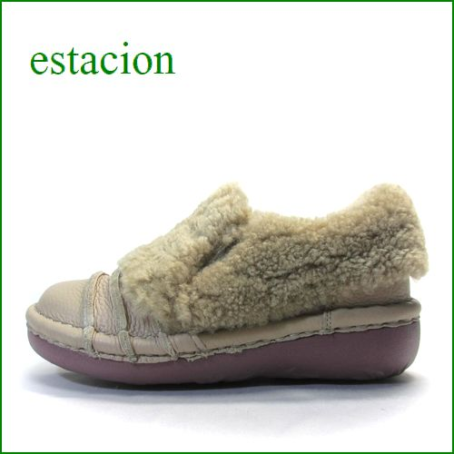 エスタシオン靴  estacion  et25Aok オークベージュ 【かわいいモコモコムートン!フワッと感じるクッション。。エスタシオン靴・・しましまスリッポン】