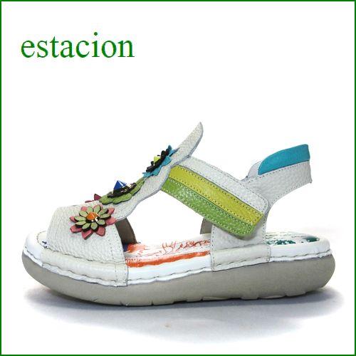 エスタシオン靴  estacion  et309iv アイボリー 【カカトパッドが優しい*カラフル&とんがりお花の**estacion クッションサンダル】