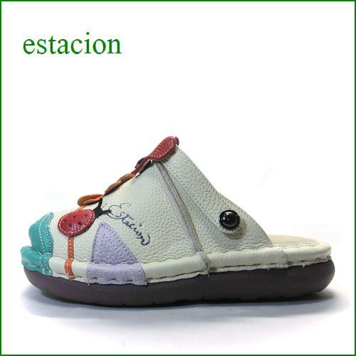 エスタシオン靴 estacion  et321iv アイボリーマルチ 【てんとう虫とクローバー・・ちょっとだけオープントゥ。。◇・◇ エスタシオン靴・サボ サンダル】
