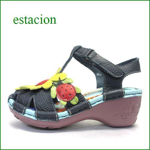 エスタシオン靴  estacion  et4081nv ネイビー 【可愛い七星てんとう虫。。ちょっとだけオープントゥ・・estacion ヒールアップサンダル】