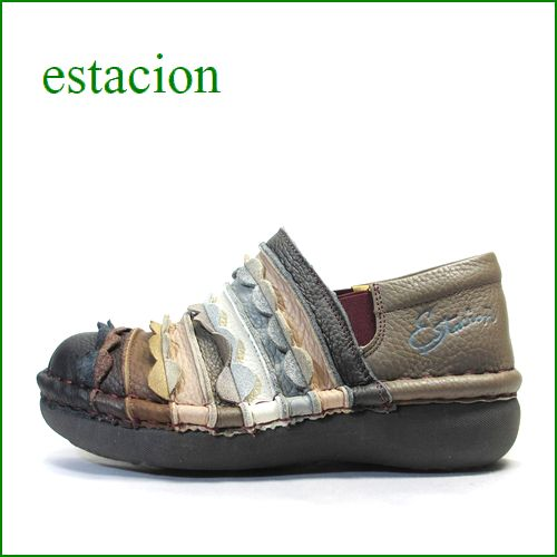 エスタシオン靴  estacion  et52brmt ブラウンマルチ 【フワッフワで歩こう! カワイイしましま波なみカット〜エスタシオン・サイドゴア】
