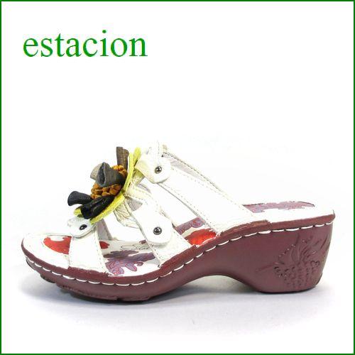 エスタシオン靴  estacion  et89iv アイボリー 【ふわふわクッション。。エスタシオン すごく可愛い・ラッパフラワー。。ミュール】