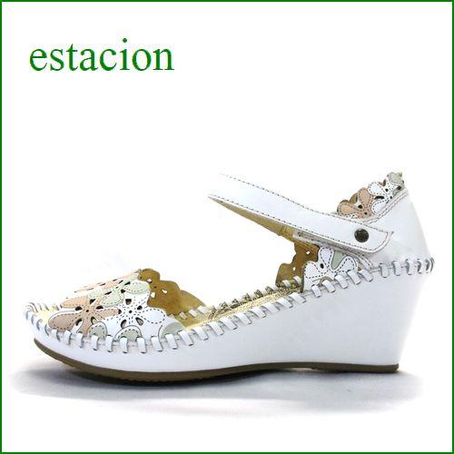 エスタシオン靴  estacion etn381iv アイボリー 【 お花畑のレーザーパンチング。。履きやすさ満点!エスタシオン セパレートサンダル】