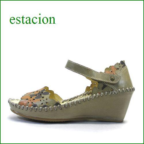 エスタシオン靴  estacion etn381ka カーキ 【 お花畑のレーザーパンチング。。履きやすさ満点!エスタシオン セパレートサンダル】