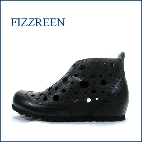 fizz reen  フィズリーン fr5607bl ブラック 【可愛い丸さのピーナッツトゥ・・・シークレットの履き心地・・fizzreen・穴穴アンクル】