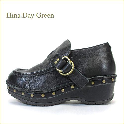 hina day green ヒナデイグリン hi6033bl ブラック 【可愛いボリュームソールに・アンティークな押しピンでもっと可愛い・hina モンクストラップ】
